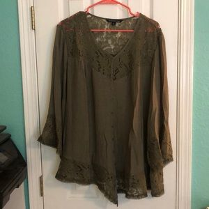 Green lace detail blouse